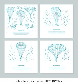 Extreme sport sketch set vector  templates. Skydivers flying with a para glider and parachute in the sky with clouds. Parachuting sport. Design for flyer, invitation, mailing, web banners, promotion