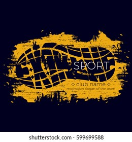 Extreme sport vector logo. Lettering composition with the imprint sole of a sports shoe isolated on color background. Best for sports team emblem, banner, print design for t-shirt.
