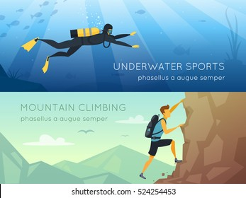 Extreme sports 2 flat horizontal banners banners with underwater diving and mountains rock climbing isolated vector illustration