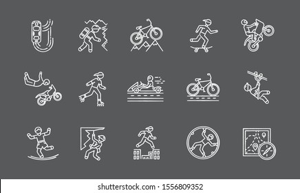 Extreme sports chalk icons set. Climbing, mountaineering. Spelunking. Cycling, rollerskating. Motorcar racing. Street culture. Orienteering skill. Isolated vector chalkboard illustrations