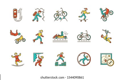 Extreme sports color icons set. Climbing, mountaineering. Spelunking. Cycling, rollerskating. Motorcar racing. People doing stunts. Street culture. Orienteering skill. Isolated vector illustrations