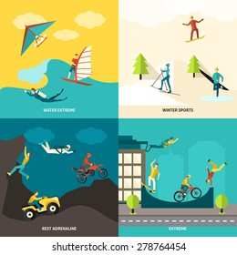 Extreme sports design concept set with winter and water adrenaline adventures flat icons isolated vector illustration