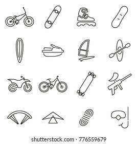 Extreme Sports or Extreme Sports Equipment Icons Thin Line Vector Illustration Set