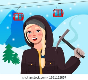 Extreme sports girl climber. Sport weekend action in ski resort, women hiker in cold season in warm clothes in snowy mountains. Girl holding pickaxe, standing on the background of the cable car lift