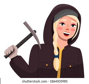 Extreme sports girl climber. Sport weekend action in ski resort, women hiker in cold season in warm clothes in a jacket with a hood on her head. Girl holding pickaxe isolated on white background