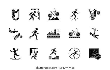 Extreme sports glyph icons set. Climbing, mountaineering. Spelunking. Cycling, rollerskating. Motorcar racing. Street culture. Orienteering skill. Silhouette symbols. Vector isolated illustration