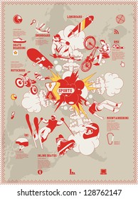 extreme sports info graphic elements,vector sport background