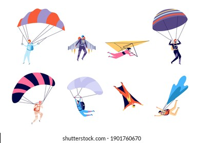 Extreme sports. Recreation, parachute sportsman jumps. Active hobbies, people on gliders paraglider flying, skydive utter vector characters
