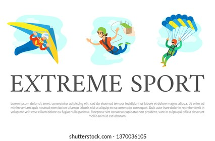 Extreme sports vector, skydiving male and bungee jumping woman, poster with text sample. Hobby of people, hang gliding, special equipment of person
