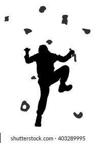 Extreme sportsman climb without rope. Man climbing vector silhouette illustration, isolated on background. Sport weekend action in adventure park. Rock wall for fun. Tough and healthy discipline.