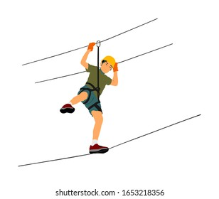 Extreme sportsman took down with rope. Man climbing vector illustration, isolated on white. Sport weekend zip line action in adventure park rope ladder. Rope way for fun, team building. Rescue mission