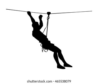 Extreme sportsman took down with rope. Man climbing vector silhouette illustration, isolated. Rescue mountain unit. Sport weekend action in adventure park rope ladder. Ropeway for fun, team building.