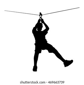 Extreme sportsman took down with rope. Man climbing vector silhouette illustration, isolated. Rescue mountain unit. Sport weekend action in adventure park zip line. Rope way for fun, team building.