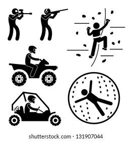 Extreme Tough Game for Man Paintball Clay Shooting Rock Climbing Quad Biking Zorb Ball Sport Stick Figure Pictogram Icon
