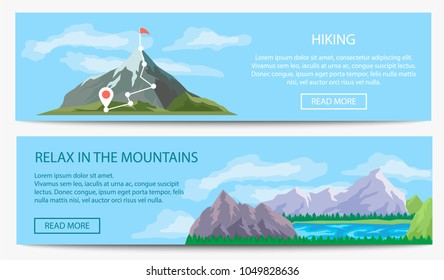 Extreme travel and hiking banner set vector illustration. Nature landscape with ice mountain range. Tourism organization, professional alpinism, mountaineering and outdoor adventure