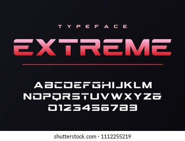Extreme trendy futuristic and sports font design, alphabet, typeface, typography.