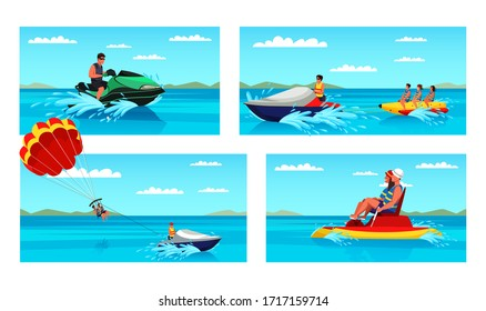 Extreme water sport amusement during summer vacation set. Happy people tourists riding banana and pedal boat, driving jet ski, enjoying parasailing. Man woman jumping over waves. Vector illustration