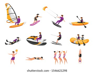 Extreme water sport flat vector illustrations set. Surfing, canoeing, kayaking. Scuba diving. Water-skiing sportsman. Synchronized swimming athletes. Sports people isolated cartoon characters