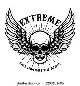 Extreme. Winged skull on white background. Design element for logo, label, emblem, sign, poster. Vector illustration