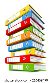Extremely high pile of colorful binders isolated on a white background. Concept of office information overload. Vector illustration.