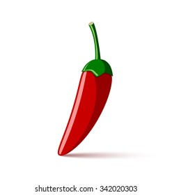 Extremely hot red chilli pepper placed on white background