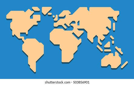 Extremely simplified world map with only 0, 90 and 45 deg lines used. Rounded edges. Simplification enables it to be used at a very small - almost icon - size.