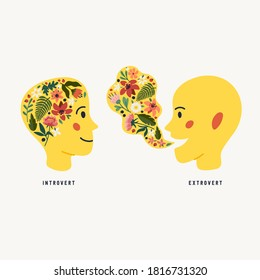 Extrovert and introvert. Extraversion and introversion concept - silhouettes of two human heads with an abstract image of emotions inside and outside. Vector illustration in flat cartoon style on