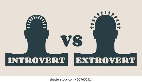 extrovert and introvert metaphor. Image relative to human psychology