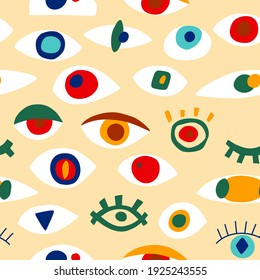 Eye abstract pattern with geometric shapes in contemporary style. Vector greek seamless pattern with look, eyes in modern collage style. Abstract shapes background. Colorful hand drawn illustration.
