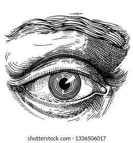 Eye. Eye antique engraving style. Hand drawn illustration for tattoo design, emblem, badge, t-shirt print. Eye icon. Classic vintage style image. Vector