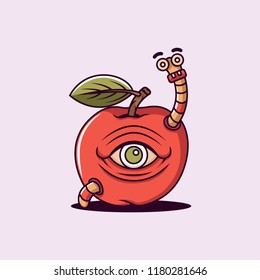 Eye Apple and Worm vector character illustration design