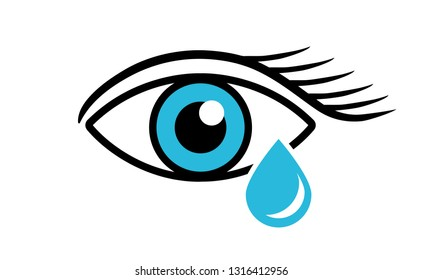 Eye with an artificial tear on a white background. Eye care. Close up - Vector