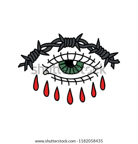 Eye Barbed Wire Illustration Traditional Tattoo Stock Vector ...