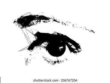 Eye - Black & White Vector.