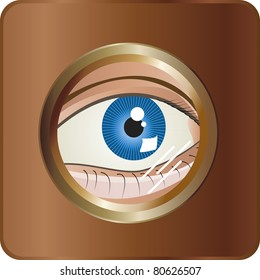 The eye. A blue eye spying by a magic eye.