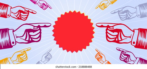 eye catching group of hands with pointing fingers indicating promotional price or special offer banner template