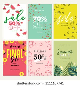 Eye catching summer sale mobile banners, ads and posters collection. Vector illustrations concept for shopping, e-commerce, internet advertising, social media ads and banners, marketing material.