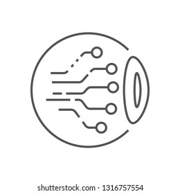 Eye Circuit Icon Vector. AI concept Illustration. Smart Machine Computing Learning Network Digital Logo. EPS 10