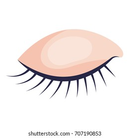 eye closed female closeup in colorful silhouette on white background vector illustration