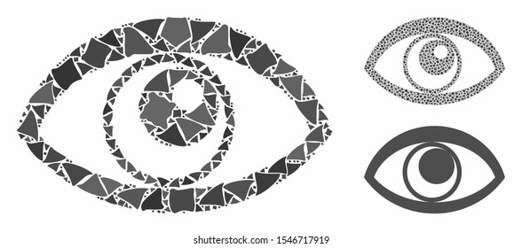 Eye composition of joggly items in various sizes and shades, based on eye icon. Vector joggly dots are combined into illustration. Eye icons collage with dotted pattern.