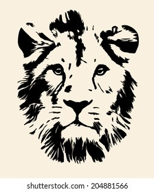 Eye contact with melancholy lion, isolated on sepia background. King of beasts, the biggest and mightiest cat of the world, sad and calm looking straight into the camera. Vector monochrome image.