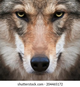 Eye contact with a severe wolf female. Menacing expression of the european wolf, very beautiful animal and dangerous beast. Amazing vector image in oil painting style. Awful charm of the wild beauty.