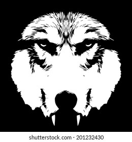 Eye contact with terrible wolf with bare fangs. Menacing expression of the wolf, extremely dangerous beast. Amazing black and white vector image. Horror of the mystic werewolf, lycanthrope, wolfman.