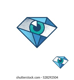 An eye as a diamond corporate identity symbol. Vector label for a medical, optics' or security service company. Ophthalmology logo, logotype