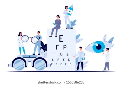 Eye doctor banner - flat cartoon poster of optometrist and ophthalmologist medical staff people with glasses, letter vision test and eye drops, isolated vector illustration