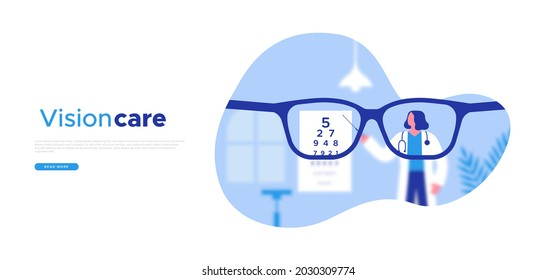 Eye doctor exam with blurry vision web template illustration. Professional woman optician doing chart eyesight test for sight problem or routine health examination.