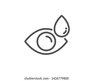 Eye drops line icon. Oculist clinic sign. Optometry vision symbol. Quality design element. Linear style eye drops icon. Editable stroke. Vector