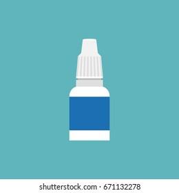 Eye and ear drop bottle icon, flat design vector