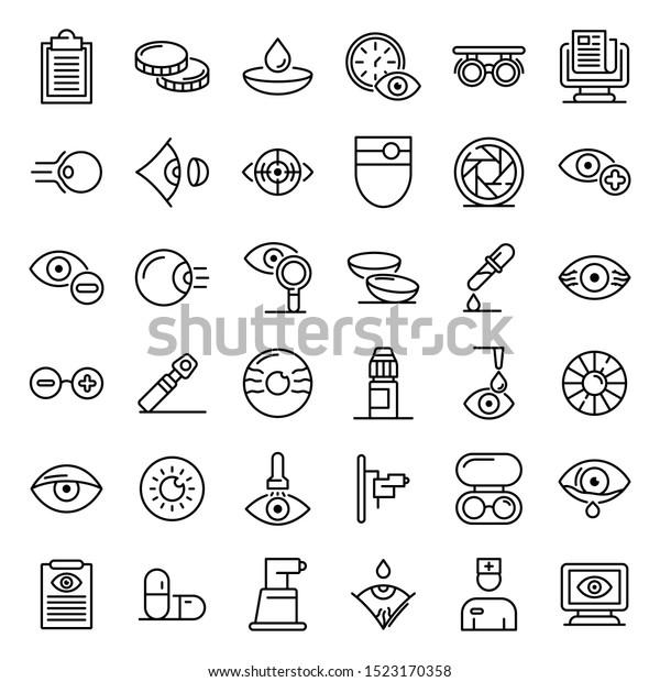 Eye examination icons set. Outline set of eye examination vector icons for web design isolated on white background