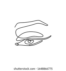 Eye with eyebrow, continuous line drawing, small tattoo, print for clothes and logo design, emblem or logo design, logo for the studio eyelash, isolated vector illustration.